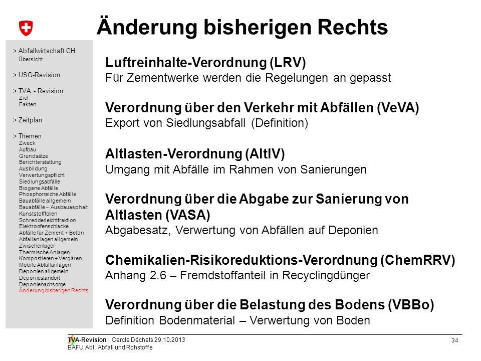 34 TVA-Revision | Cercle Déchets 29.10.2013 BAFU Abt. Abfall und Rohstoffe Änderung bisherigen Rechts Luftreinhalte-Verordnung (LRV) Für Zementwerke w