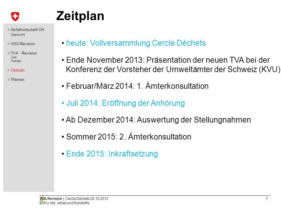 7 TVA-Revision | Cercle Déchets 29.10.2013 BAFU Abt. Abfall und Rohstoffe Zeitplan heute: Vollversammlung Cercle Déchets Ende November 2013: Präsentat