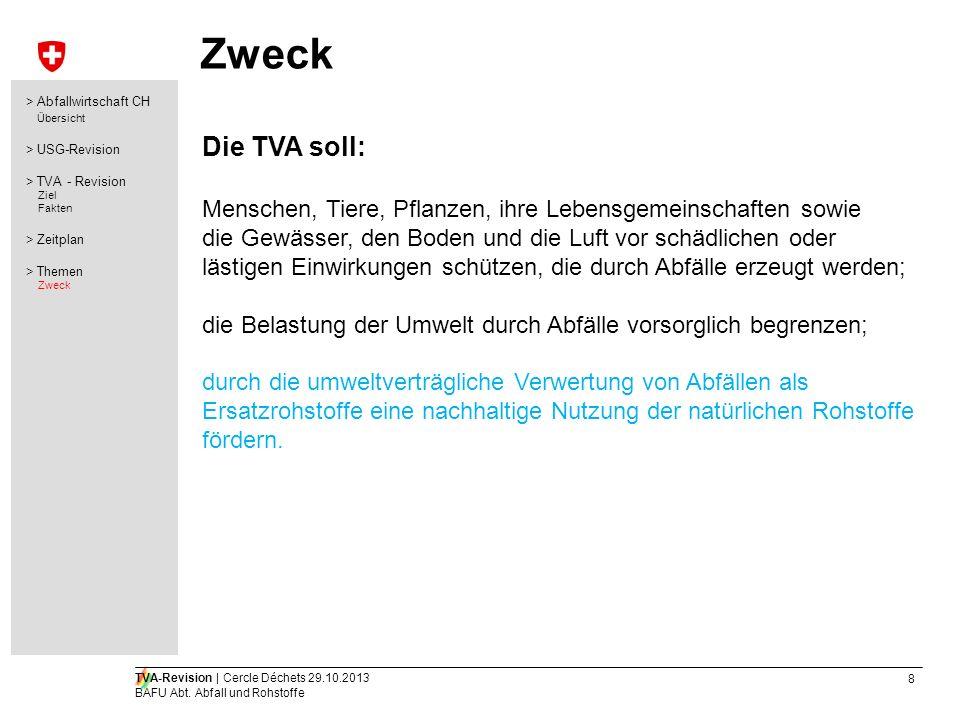19 TVA-Revision   Cercle Déchets 29.10.2013 BAFU Abt.