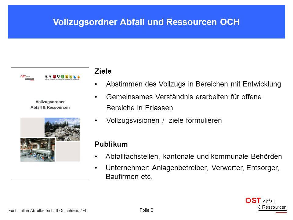 Folie 2 Vollzugsordner Abfall und Ressourcen OCH Fachstellen Abfallwirtschaft Ostschweiz / FL Ziele Abstimmen des Vollzugs in Bereichen mit Entwicklun