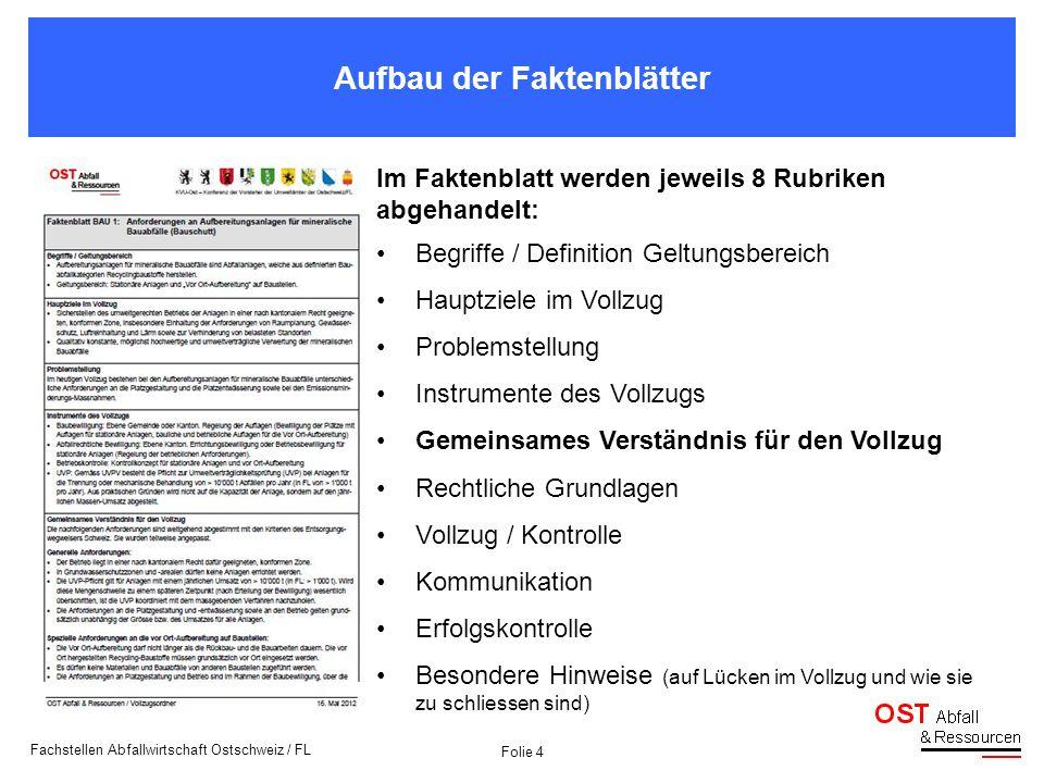 Folie 4 Fachstellen Abfallwirtschaft Ostschweiz / FL Aufbau der Faktenblätter Im Faktenblatt werden jeweils 8 Rubriken abgehandelt: Begriffe / Definit