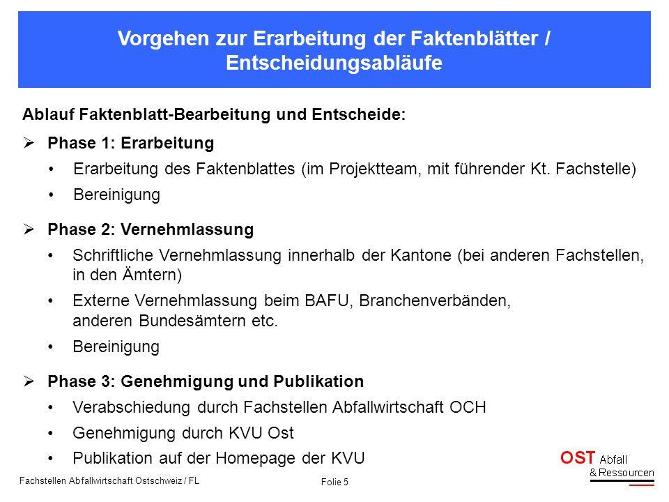 Folie 5 Fachstellen Abfallwirtschaft Ostschweiz / FL Vorgehen zur Erarbeitung der Faktenblätter / Entscheidungsabläufe Ablauf Faktenblatt-Bearbeitung