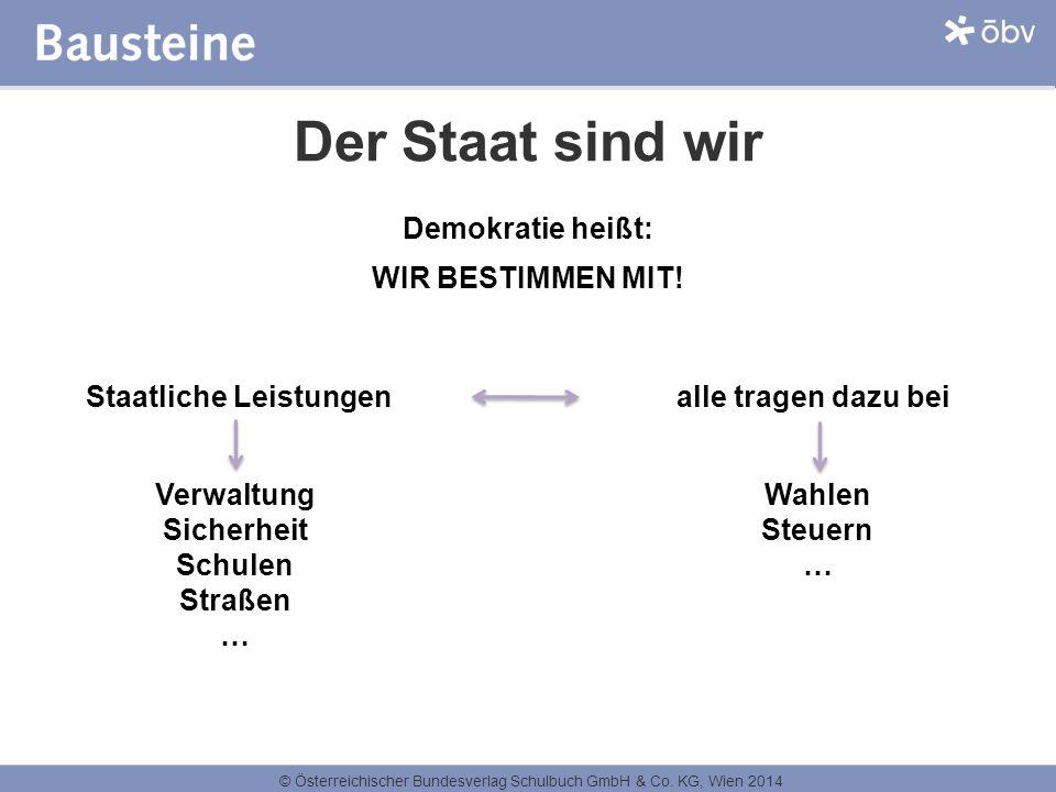 © Österreichischer Bundesverlag Schulbuch GmbH & Co. KG, Wien 2014 Der Staat sind wir Demokratie heißt: WIR BESTIMMEN MIT! Staatliche Leistungen alle