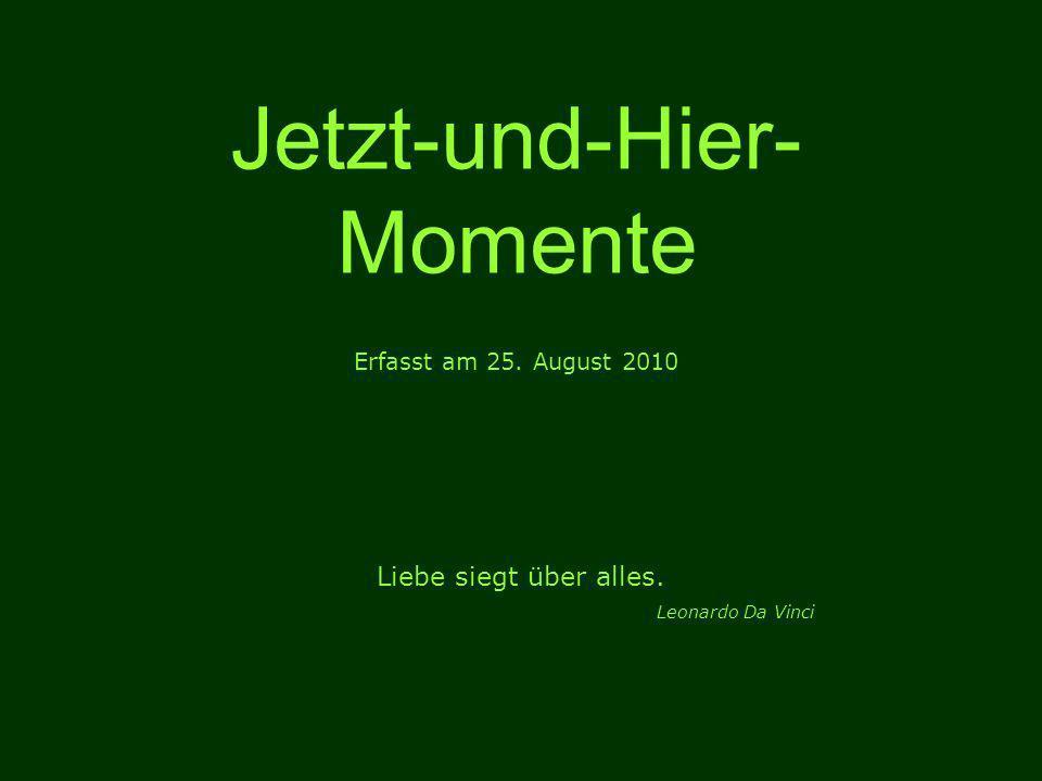 Jetzt-und-Hier- Momente Erfasst am 25. August 2010 Liebe siegt über alles. Leonardo Da Vinci
