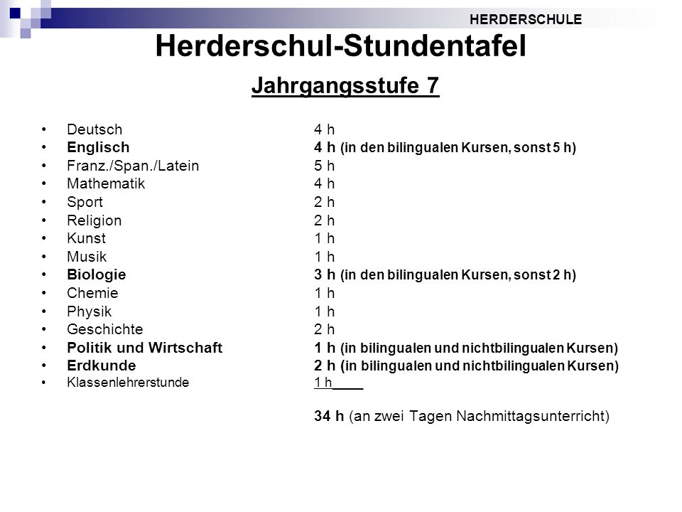 HERDERSCHULE Herderschul-Stundentafel Jahrgangsstufe 7 Deutsch4 h Englisch4 h (in den bilingualen Kursen, sonst 5 h) Franz./Span./Latein5 h Mathematik