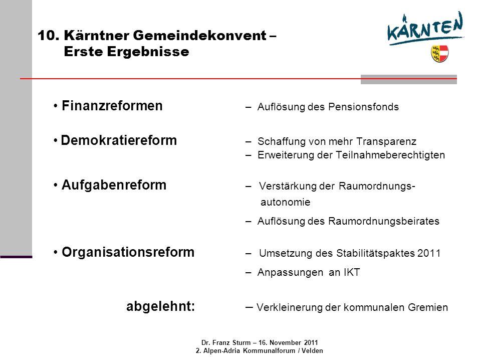 Dr. Franz Sturm – 16. November 2011 2. Alpen-Adria Kommunalforum / Velden 10.