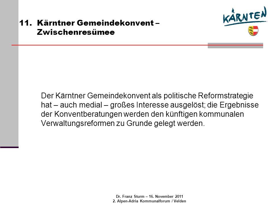 Dr. Franz Sturm – 16. November 2011 2. Alpen-Adria Kommunalforum / Velden 11.