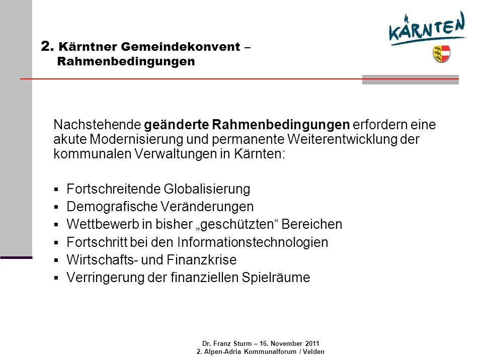 Dr. Franz Sturm – 16. November 2011 2. Alpen-Adria Kommunalforum / Velden 2.
