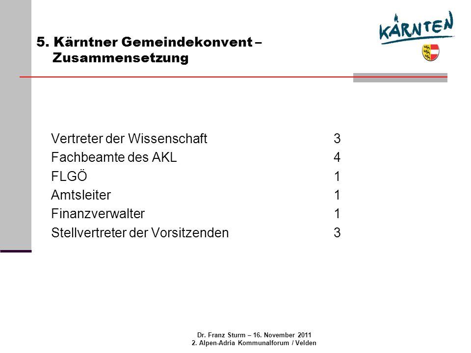 Dr.Franz Sturm – 16. November 2011 2. Alpen-Adria Kommunalforum / Velden 6.