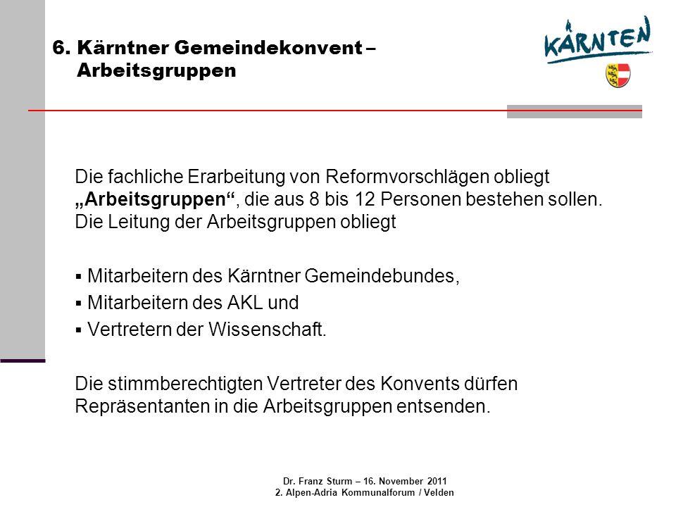 Dr. Franz Sturm – 16. November 2011 2. Alpen-Adria Kommunalforum / Velden 6.