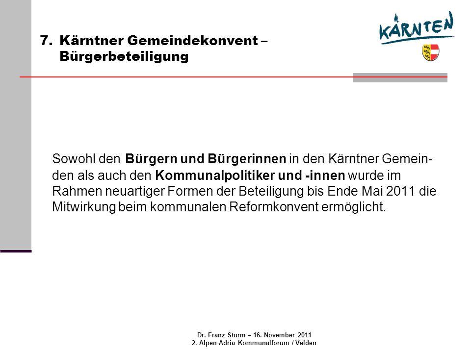 Dr.Franz Sturm – 16. November 2011 2. Alpen-Adria Kommunalforum / Velden 8.