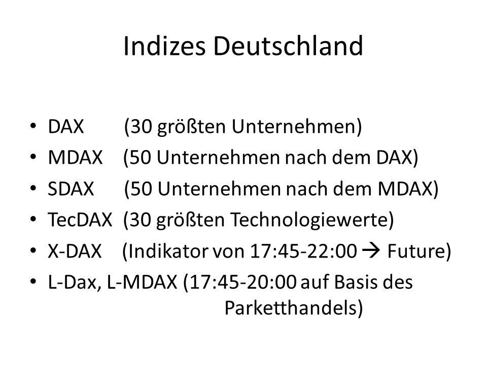 Indizes Deutschland DAX (30 größten Unternehmen) MDAX (50 Unternehmen nach dem DAX) SDAX (50 Unternehmen nach dem MDAX) TecDAX (30 größten Technologie