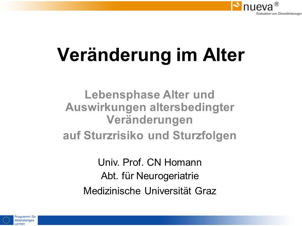 Veränderung im Alter Lebensphase Alter und Auswirkungen altersbedingter Veränderungen auf Sturzrisiko und Sturzfolgen Univ. Prof. CN Homann Abt. für N