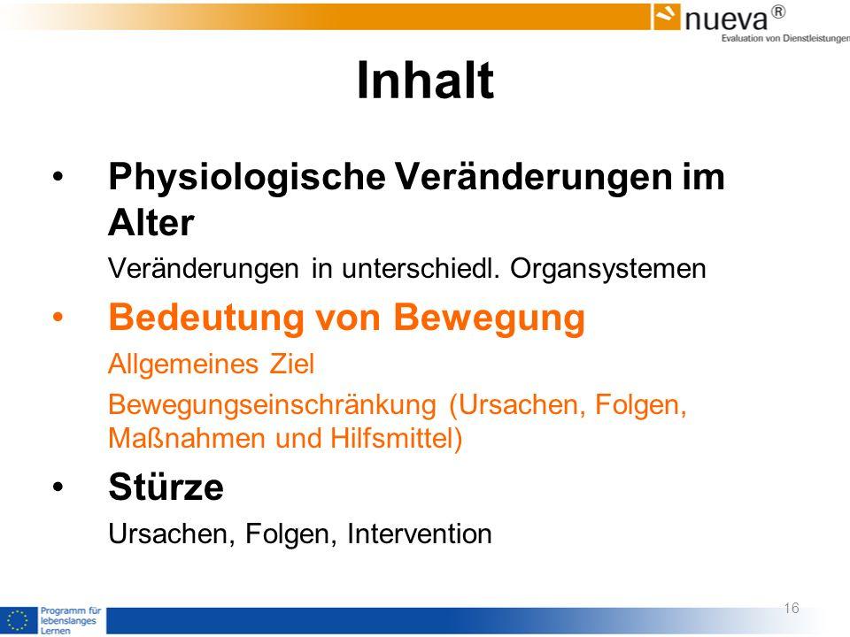 Inhalt Physiologische Veränderungen im Alter Veränderungen in unterschiedl. Organsystemen Bedeutung von Bewegung Allgemeines Ziel Bewegungseinschränku