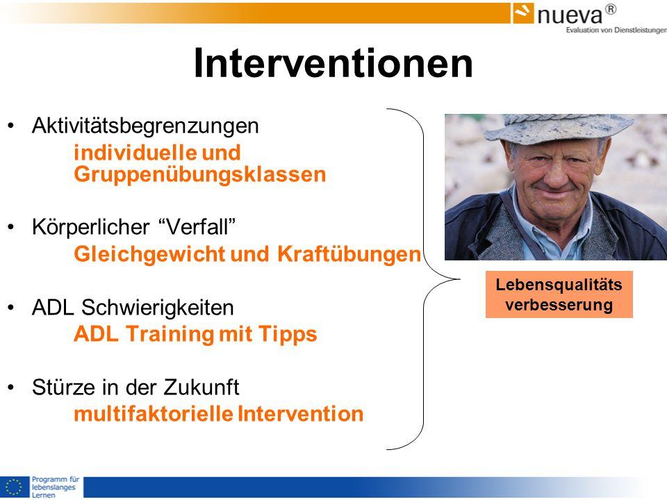 Interventionen Aktivitätsbegrenzungen individuelle und Gruppenübungsklassen Körperlicher Verfall Gleichgewicht und Kraftübungen ADL Schwierigkeiten AD