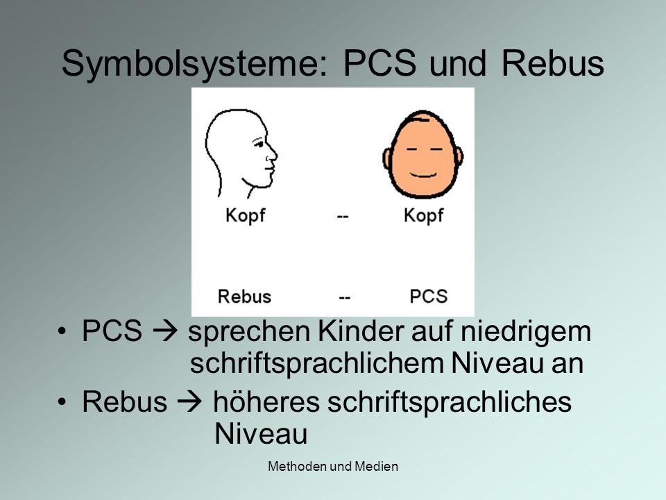 Methoden und Medien Symbolsysteme: PCS und Rebus PCS sprechen Kinder auf niedrigem schriftsprachlichem Niveau an Rebus höheres schriftsprachliches Niv