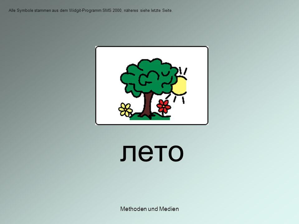 Methoden und Medien лето Alle Symbole stammen aus dem Widgit-Programm SMS 2000, näheres siehe letzte Seite.