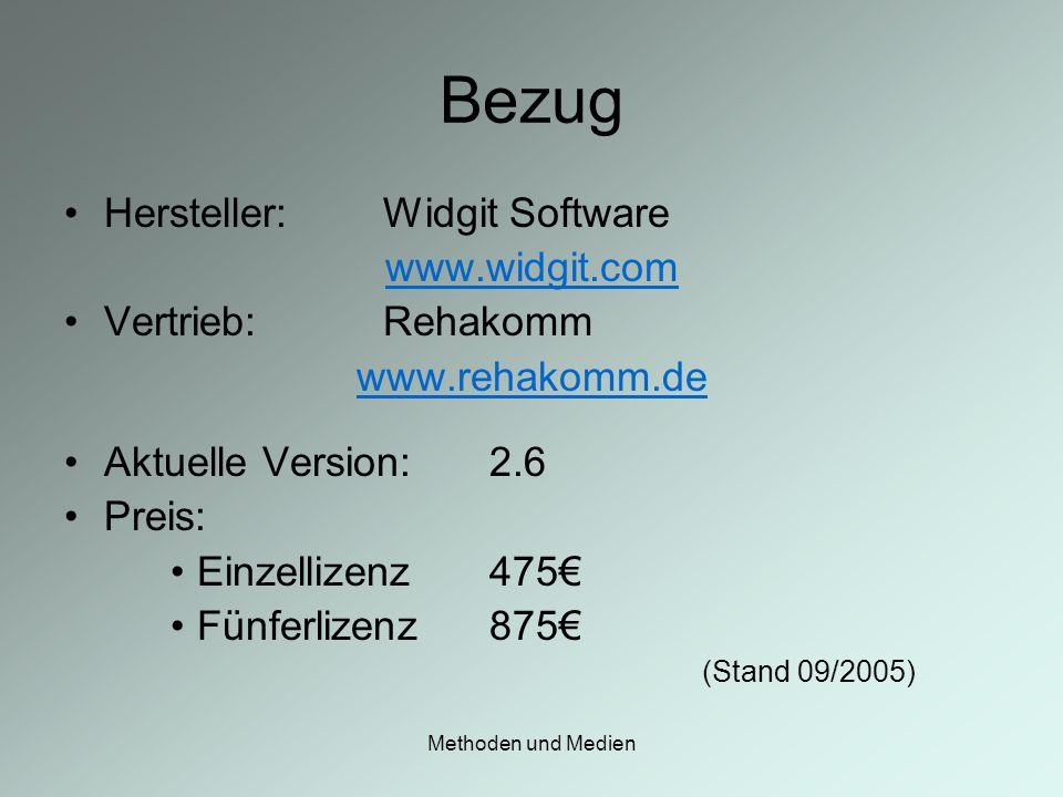 Methoden und Medien Bezug Hersteller:Widgit Software www.widgit.com Vertrieb: Rehakomm www.rehakomm.de Aktuelle Version:2.6 Preis: Einzellizenz475 Fün