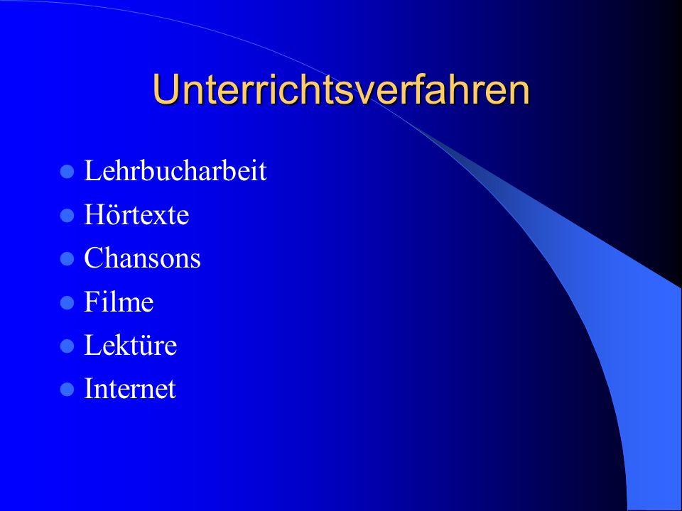 Unterrichtsverfahren Lehrbucharbeit Hörtexte Chansons Filme Lektüre Internet