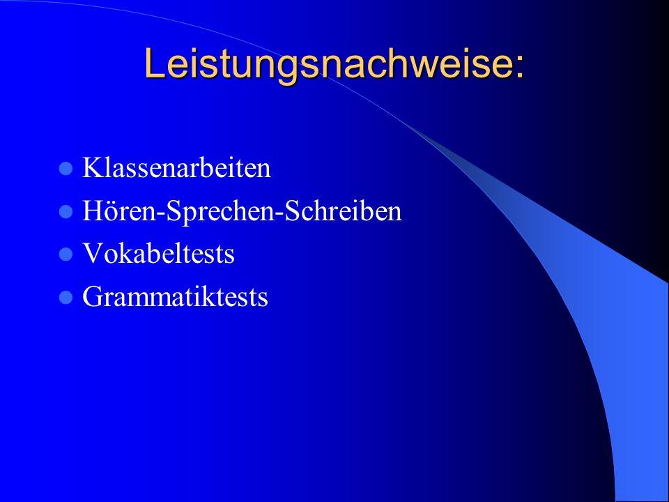 Leistungsnachweise: Klassenarbeiten Hören-Sprechen-Schreiben Vokabeltests Grammatiktests