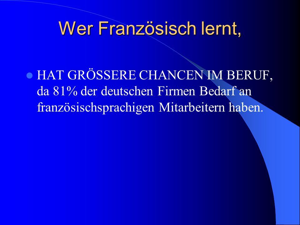 Wer Französisch lernt, HAT GRÖSSERE CHANCEN IM BERUF, da 81% der deutschen Firmen Bedarf an französischsprachigen Mitarbeitern haben.