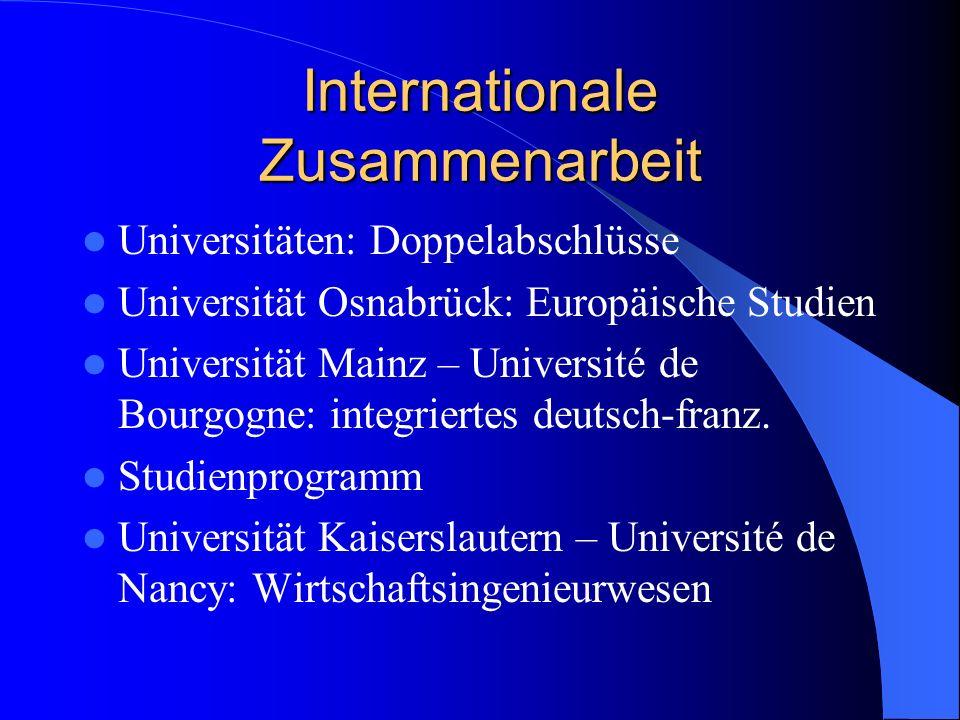 Internationale Zusammenarbeit Universitäten: Doppelabschlüsse Universität Osnabrück: Europäische Studien Universität Mainz – Université de Bourgogne: integriertes deutsch-franz.