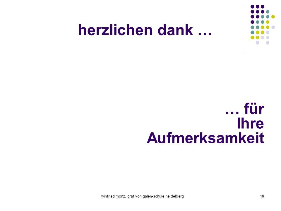 winfried monz, graf von galen-schule heidelberg18 herzlichen dank … … für Ihre Aufmerksamkeit