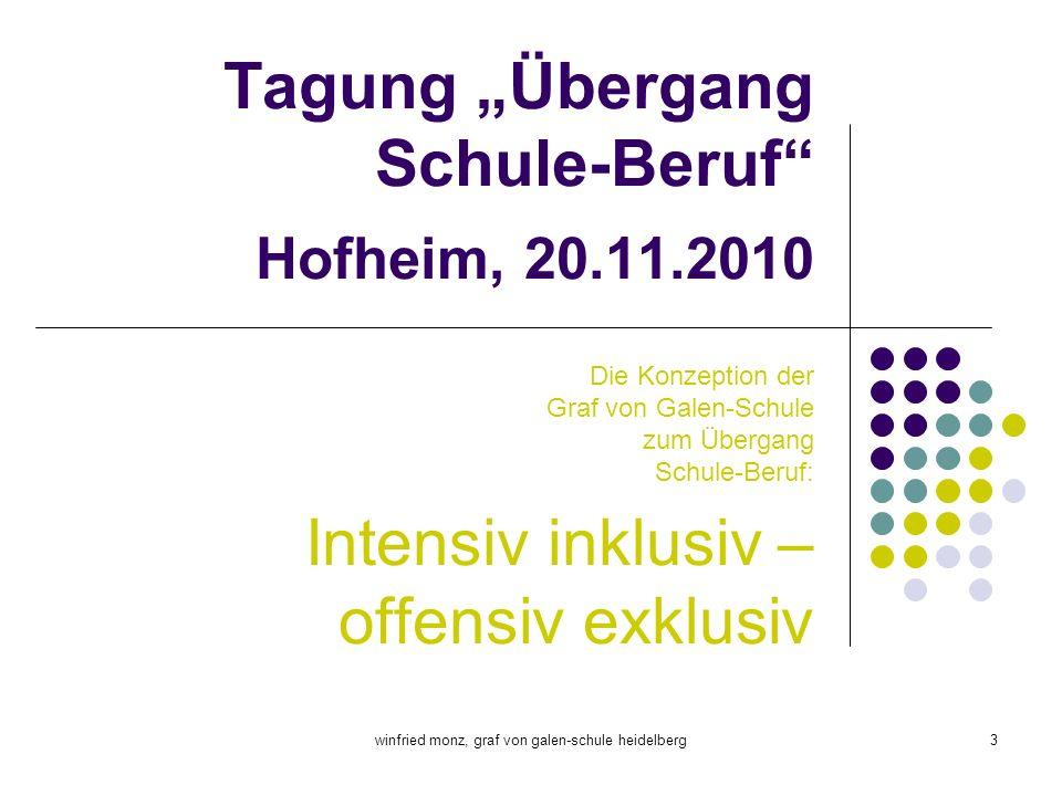 winfried monz, graf von galen-schule heidelberg3 Tagung Übergang Schule-Beruf Hofheim, 20.11.2010 Die Konzeption der Graf von Galen-Schule zum Übergan