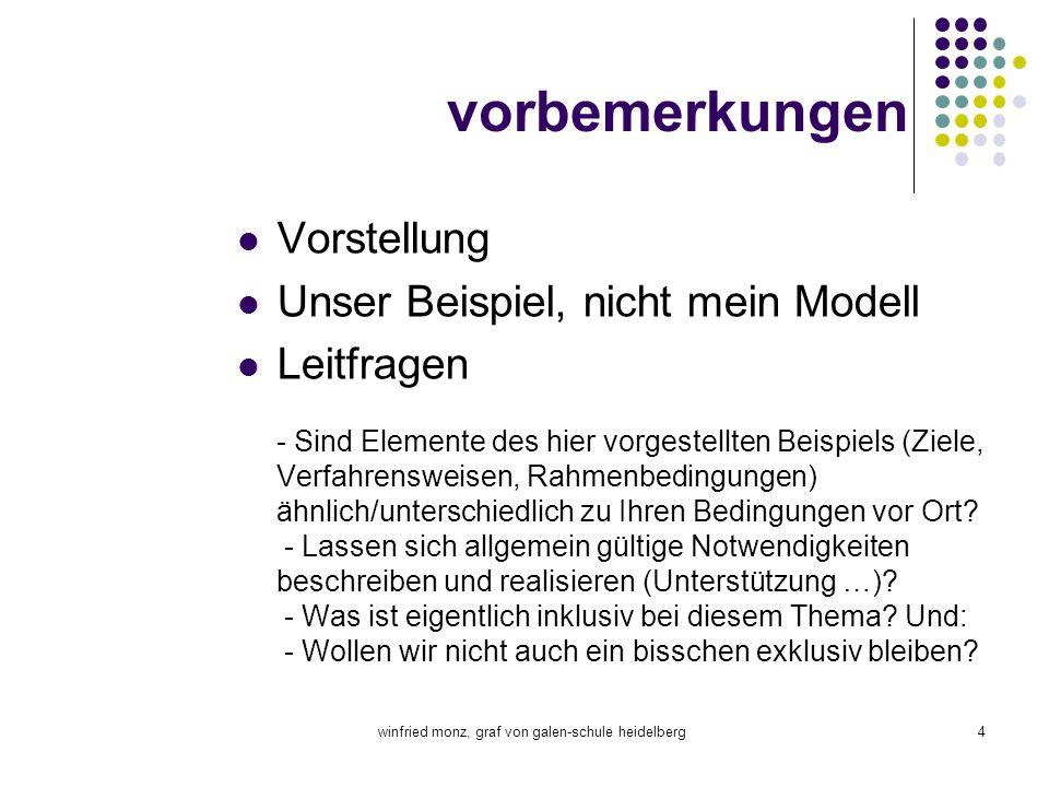 winfried monz, graf von galen-schule heidelberg4 vorbemerkungen Vorstellung Unser Beispiel, nicht mein Modell Leitfragen - Sind Elemente des hier vorg