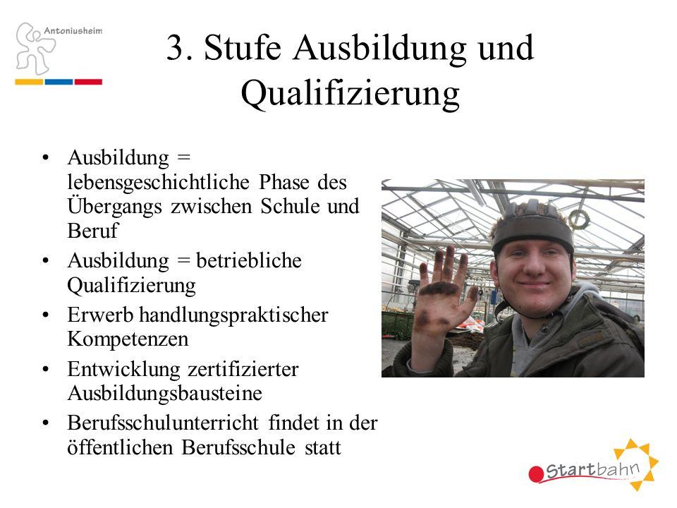 3. Stufe Ausbildung und Qualifizierung Ausbildung = lebensgeschichtliche Phase des Übergangs zwischen Schule und Beruf Ausbildung = betriebliche Quali