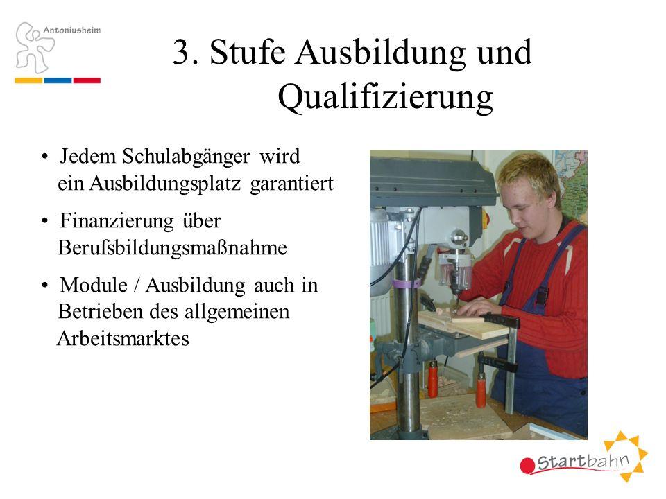 3. Stufe Ausbildung und Qualifizierung Jedem Schulabgänger wird ein Ausbildungsplatz garantiert Finanzierung über Berufsbildungsmaßnahme Module / Ausb