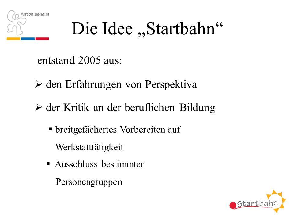 Die Idee Startbahn entstand 2005 aus: den Erfahrungen von Perspektiva der Kritik an der beruflichen Bildung breitgefächertes Vorbereiten auf Werkstatt