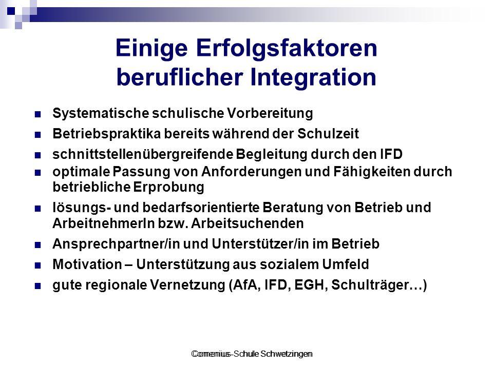 Comenius-Schule Schwetzingen Einige Erfolgsfaktoren beruflicher Integration Systematische schulische Vorbereitung Betriebspraktika bereits während der