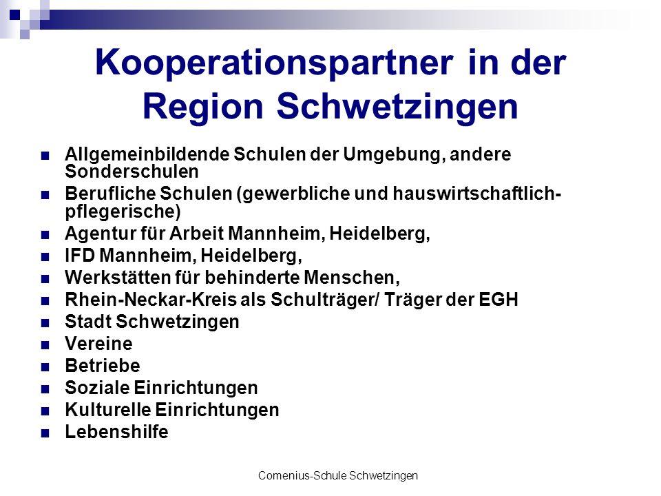 Comenius-Schule Schwetzingen Kooperationspartner in der Region Schwetzingen Allgemeinbildende Schulen der Umgebung, andere Sonderschulen Berufliche Sc