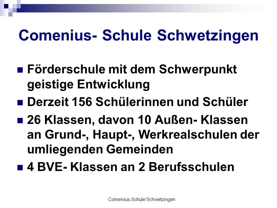 Comenius-Schule Schwetzingen Förderschule mit dem Schwerpunkt geistige Entwicklung Derzeit 156 Schülerinnen und Schüler 26 Klassen, davon 10 Außen- Kl