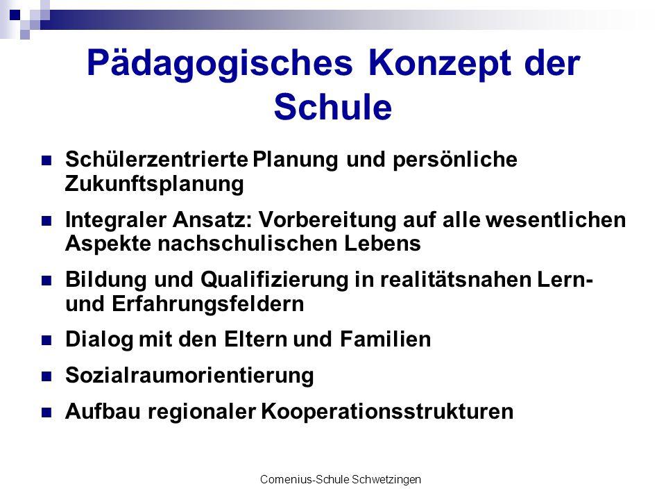 Comenius-Schule Schwetzingen Pädagogisches Konzept der Schule Schülerzentrierte Planung und persönliche Zukunftsplanung Integraler Ansatz: Vorbereitun