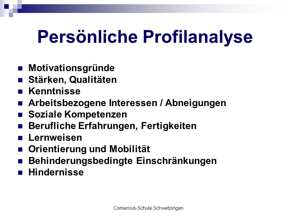 Comenius-Schule Schwetzingen Persönliche Profilanalyse Motivationsgründe Stärken, Qualitäten Kenntnisse Arbeitsbezogene Interessen / Abneigungen Sozia