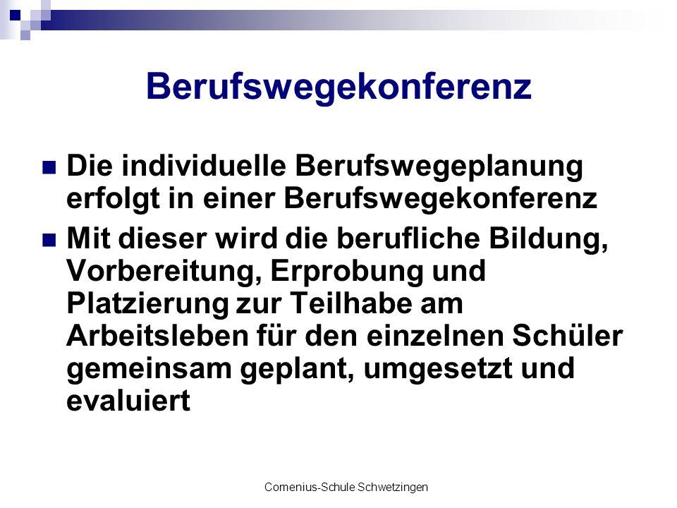 Comenius-Schule Schwetzingen Berufswegekonferenz Die individuelle Berufswegeplanung erfolgt in einer Berufswegekonferenz Mit dieser wird die beruflich