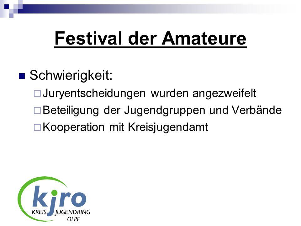 Festival der Amateure Schwierigkeit: Juryentscheidungen wurden angezweifelt Beteiligung der Jugendgruppen und Verbände Kooperation mit Kreisjugendamt