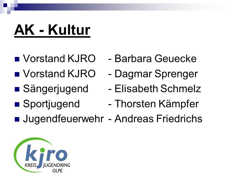 AK - Kultur Vorstand KJRO - Barbara Geuecke Vorstand KJRO - Dagmar Sprenger Sängerjugend - Elisabeth Schmelz Sportjugend - Thorsten Kämpfer Jugendfeue