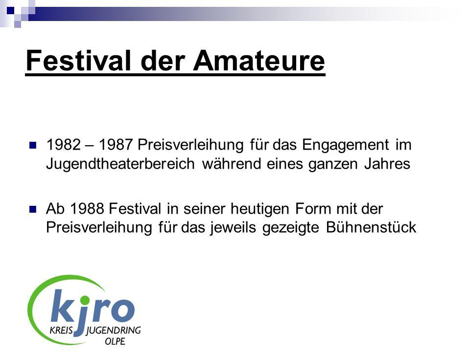 Festival der Amateure 1982 – 1987 Preisverleihung für das Engagement im Jugendtheaterbereich während eines ganzen Jahres Ab 1988 Festival in seiner he