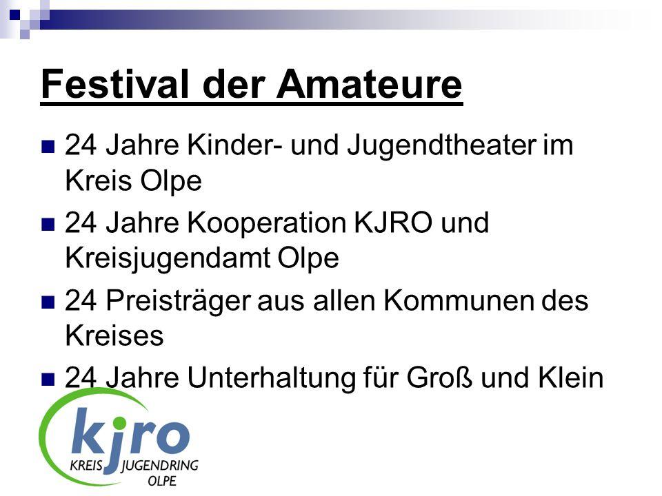 Festival der Amateure 24 Jahre Kinder- und Jugendtheater im Kreis Olpe 24 Jahre Kooperation KJRO und Kreisjugendamt Olpe 24 Preisträger aus allen Komm