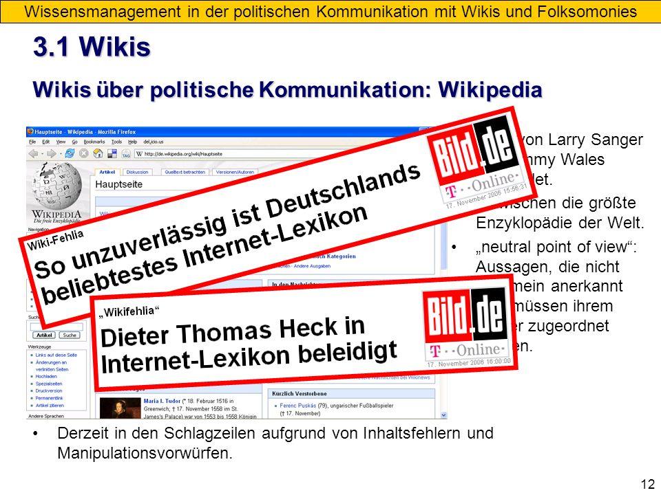 12 Wikis über politische Kommunikation: Wikipedia Wissensmanagement in der politischen Kommunikation mit Wikis und Folksomonies Derzeit in den Schlagz