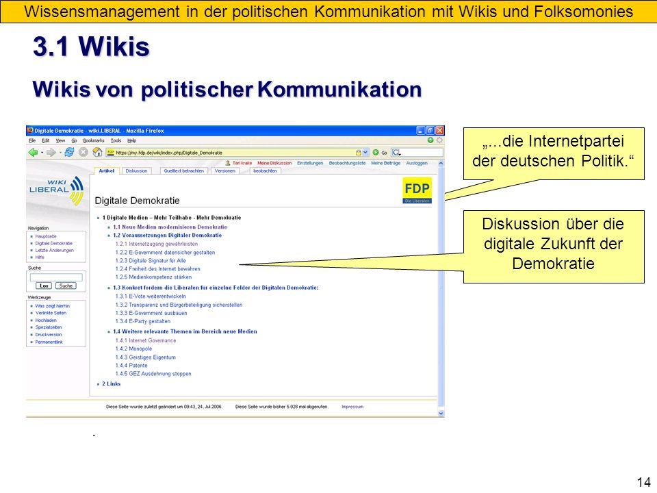 14 Wikis von politischer Kommunikation Wissensmanagement in der politischen Kommunikation mit Wikis und Folksomonies....die Internetpartei der deutsch