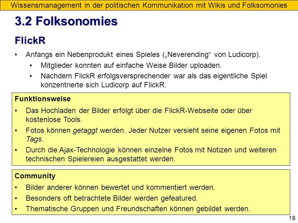 19 Wissensmanagement in der politischen Kommunikation mit Wikis und Folksomonies FlickR Anfangs ein Nebenprodukt eines Spieles (Neverending von Ludico