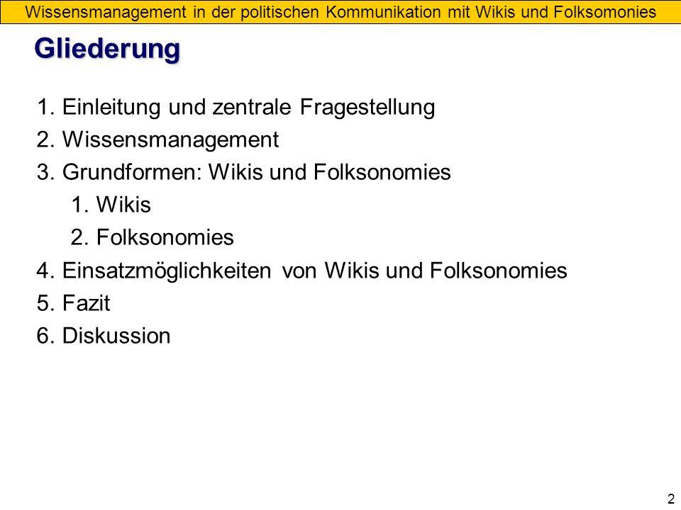 2 Gliederung 1.Einleitung und zentrale Fragestellung 2.Wissensmanagement 3.Grundformen: Wikis und Folksonomies 1.Wikis 2.Folksonomies 4.Einsatzmöglich