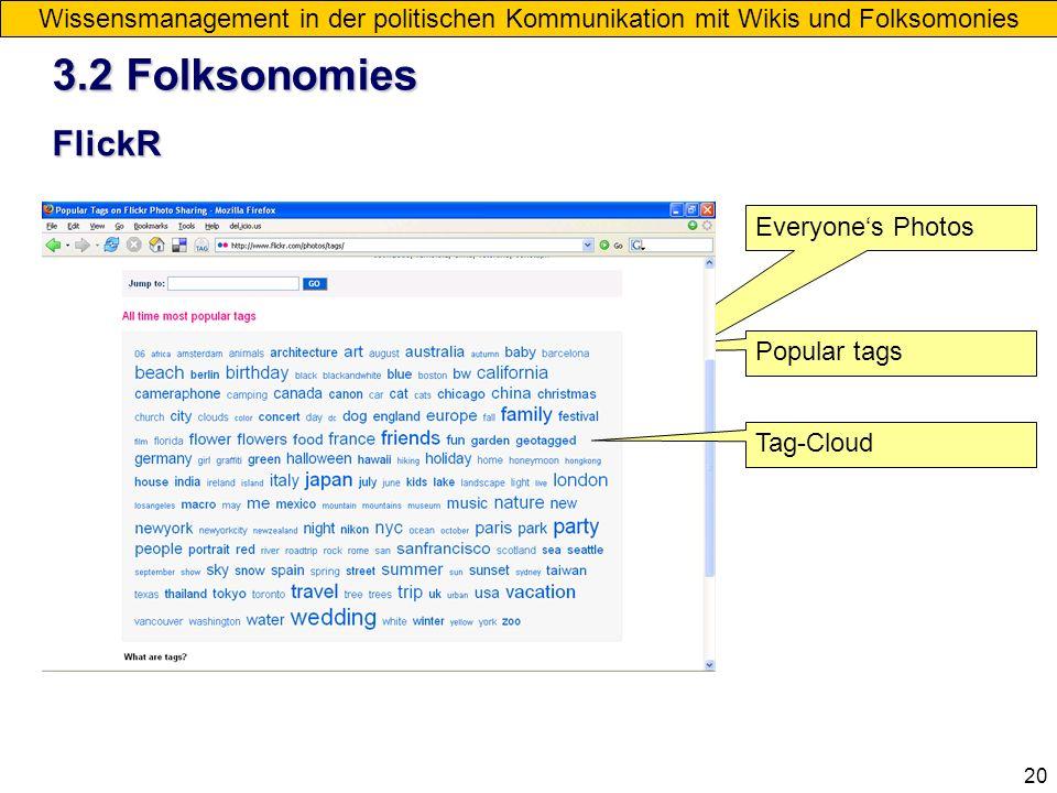 20 Wissensmanagement in der politischen Kommunikation mit Wikis und Folksomonies FlickR Everyones Photos Popular tags Tag-Cloud 3.2 Folksonomies