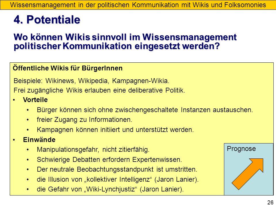 26 Blogs Wissensmanagement in der politischen Kommunikation mit Wikis und Folksomonies 4. Potentiale Wo können Wikis sinnvoll im Wissensmanagement pol