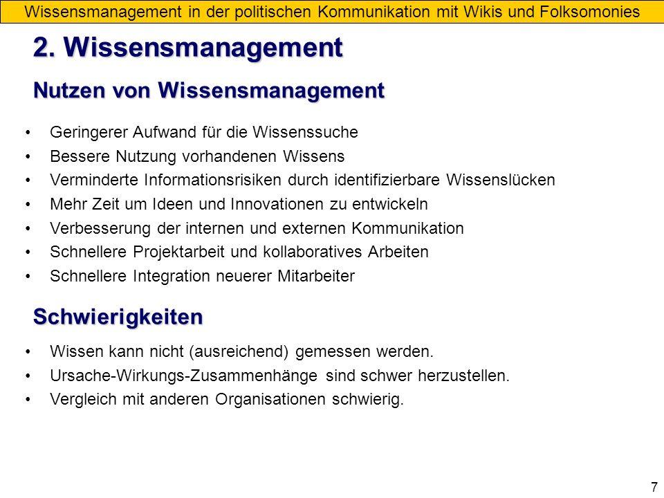 7 Nutzen von Wissensmanagement 2. Wissensmanagement Wissensmanagement in der politischen Kommunikation mit Wikis und Folksomonies Geringerer Aufwand f