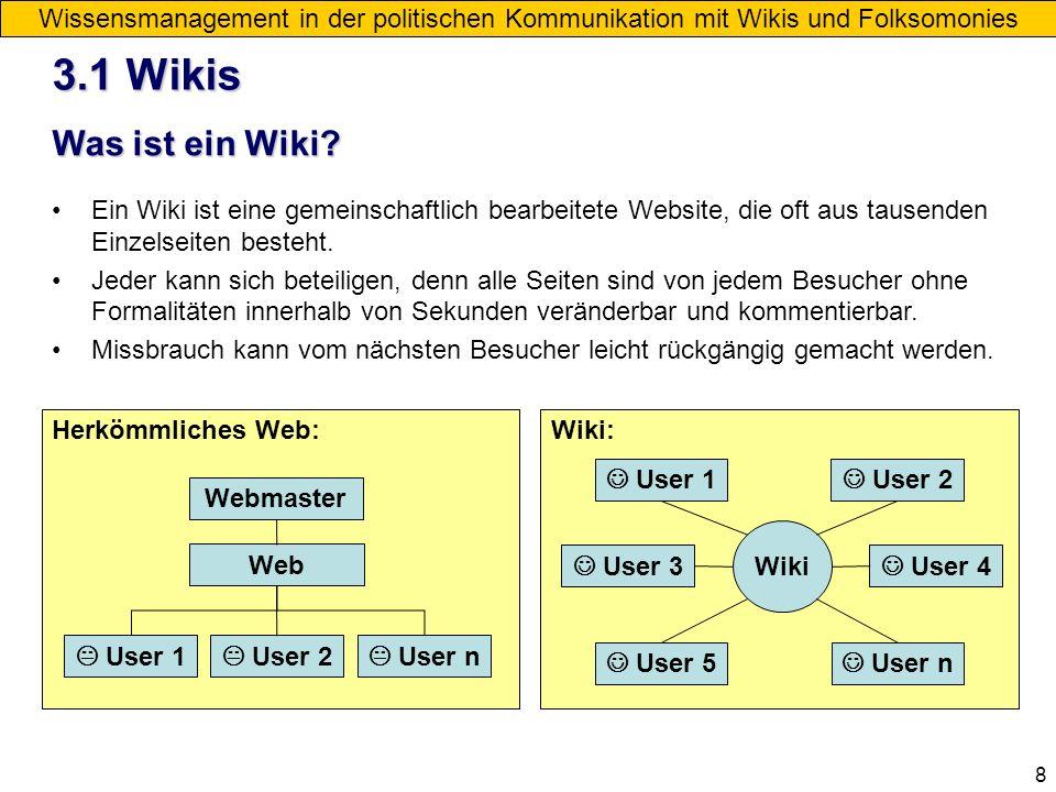 8 3.1 Wikis Wissensmanagement in der politischen Kommunikation mit Wikis und Folksomonies Was ist ein Wiki? Ein Wiki ist eine gemeinschaftlich bearbei